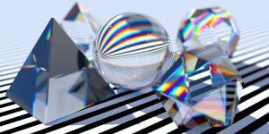 Rendering Prismen - Sinnbild der heute erreichten Lösgelöstheit von Farbe, Medium und Stofflichkeit.